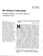 the intimacy of state power