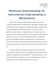 Relational Understanding vs Instrumental Understanding in teaching Mathematics