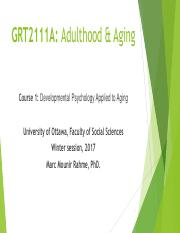 Lecture 2 (Adulthood & Aging)