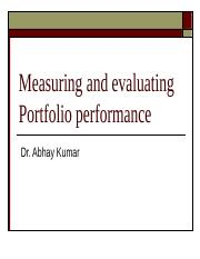 Measuring and evaluating Portfolio performance
