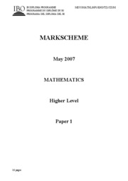 Mathematics HL - May 2007 TZ1 - P1 $