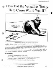 how did the versailles treaty caused ww2