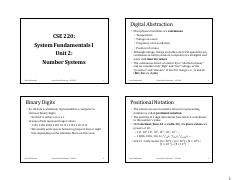 CSE220 Unit02 Number Systems