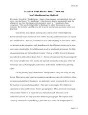 Classification Essay Assignment 2016