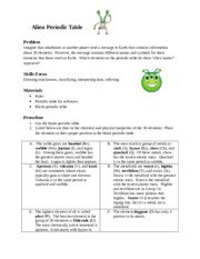 Alien periodic table activity and analysis 2 the alien periodic 4 pages alien periodic table urtaz Gallery