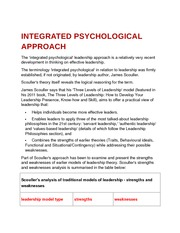 integrated psychological approach