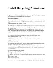 Lab 3 Recycling Aluminum
