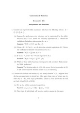 ECON 401 - Assignment 2_solution