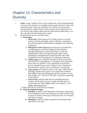 Chapter 11 outline- Characteristics and Diversity