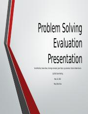 Problem Solving Evaluation Presentation