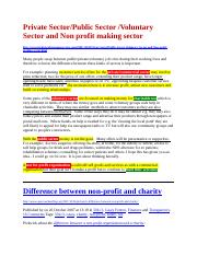 Add notes - Private_Public_Voluntary and Non profit making sector