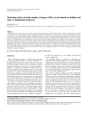 Moderating effects of leader-member exchange (LMX) on job burnout in dietitians and