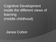 Cognitive Development, human lifespan