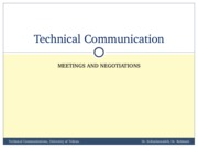 TechComm, Lecture 19 - Meetings and Negotiations