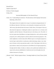 Annotated Bibliography for Final Research Essay