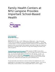 Family Health Centers at NYU Langone Provides Important School docx