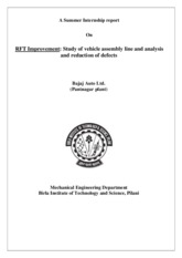 RFT Improvement-Study of vehicle assembly line and analysis and reduction of defects
