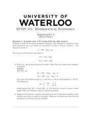 ECON311 Homework2 - Fall 2013 (with solution)