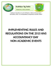 IMPLEMENTING RULES AND REGULATIONS ON THE 2015 KNS ACCOUNTANCY DAY