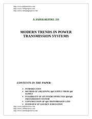 MODERN TRENDS IN POWER TRANSMISSION SYSTEMS