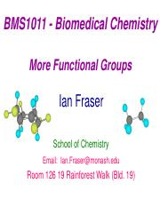 BMS1011  Lecture 4  More Functional Groups 1pp