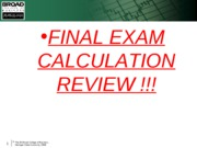 Final Exam Calculation Review