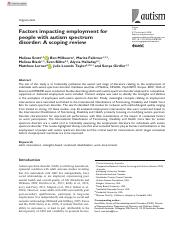 Scott - in press - Factors impacting employment for people with autism spectrum disorder - A scoping
