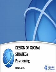 Session 8 -  Jan 5th - International Strategy Design Positioning
