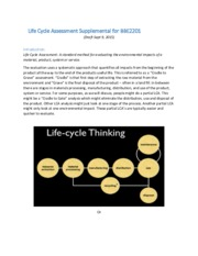 Lesson 3 Life Cycle Assessment