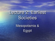 Lecture 2. Earliest Societies