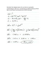 Acceleration and Displacement Problem with Answer