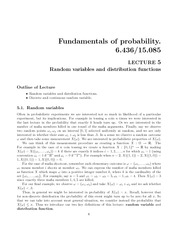 Random variables and distribution functions notes