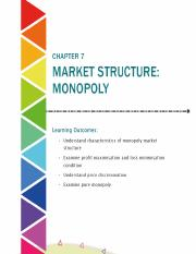 Chapter 7 Market structure Monopoly