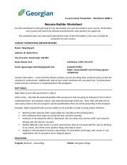 resume builder worksheet co op career preparation worksheet week 4