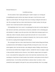 Goal Reflection Essay