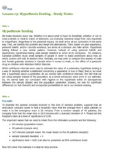 INTE 296 - Lesson 13 Hypothesis Testing