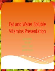Fat and Water Soluble Vitamins Presentation