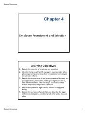 Chapter 4 - Recruitment and Selection