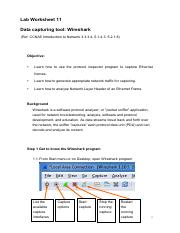 Worksheet11 Wireshark Capture Ethernet Frame