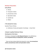 Monetary Theory Notes