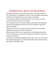 MARKETING ROLE IN BUSINESS