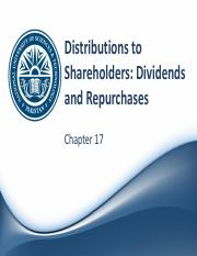 Ch 17 - Distributions to Shareholders
