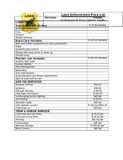 Project w-2 Price List of Services