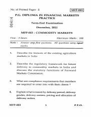 (www.entrance-exam.net)-IGNOU PG Diploma in Financial Markets Practice-Commodity Markets Sample Pape