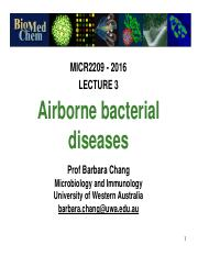 Lec 3 Airborne bacterial infections MICR2209 2016