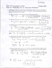 Solutions to Worksheet on Gravitation
