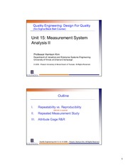 IE 431 Measurement System Analysis 2 Lecture Slides
