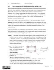 Contemporary Calculus_ Applied Maximum and Minimum Problems
