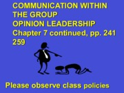 Group Influences on Consumer Behavior Opinion Leadership Lecture Slides