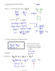 4.4  Equations Involving Logarithms